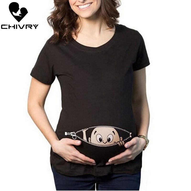 Chivry Maternity T Shirt Women Summer Casual Cute Cartoon Baby Print O-neck Short Sleeve Pregnancy Mama Shirts Pregnant Tops