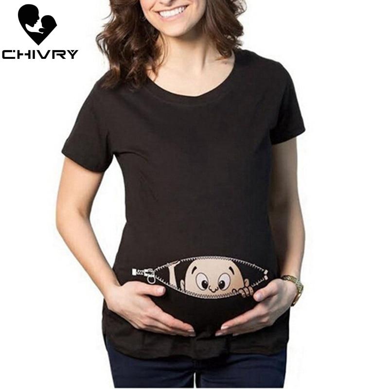 Chivry Maternity T Shirt Women Summer Casual Cute Cartoon Baby Print O-neck Short Sleeve Pregnancy Mama Shirts Pregnant Tops