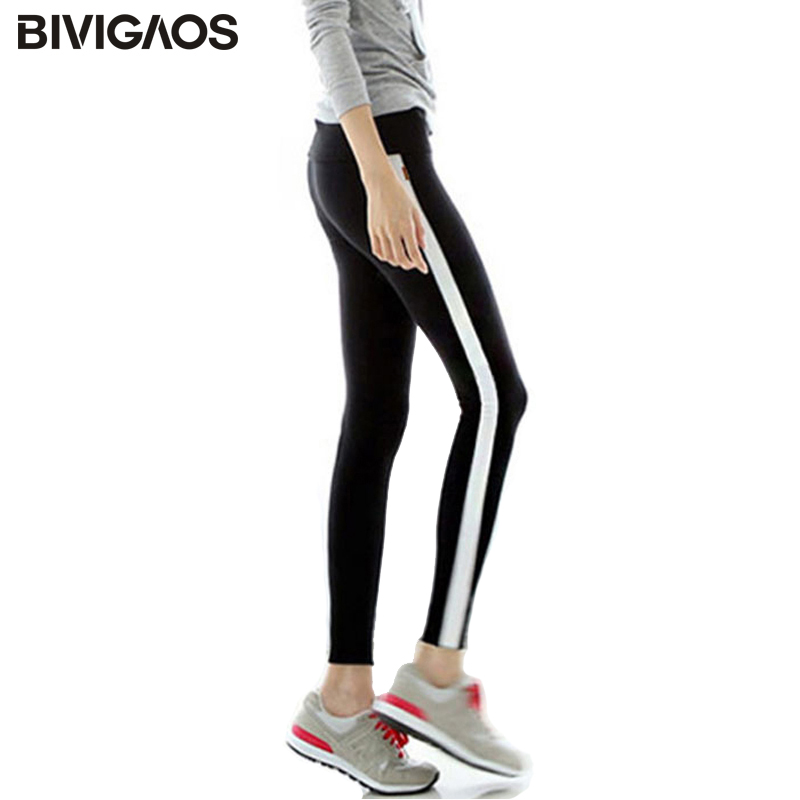 BIVIGAOS Fall Casual Black White Side Stripe   Leggings   Women   Leggings   Contrast Color Splicing Cotton Workout   Legging   Pants Women