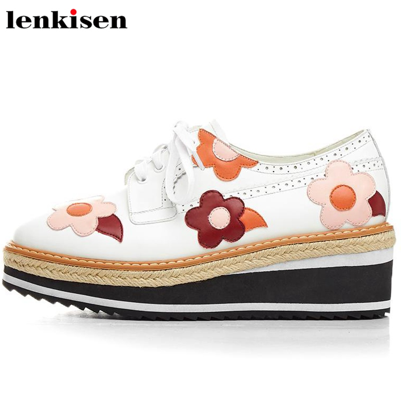 Lenkisen korean girl square toe lace up preppy style causal shoe med heels flower-shaped party runway women vulcanized shoes L09