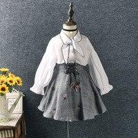 Korean Cotton Long Sleeve Lady Shirt Plaid Embroidery Flower Dress Girls Clothing Sets Kids Set For