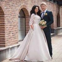 vestidos de noiva 2019 A-line Plus Size Wedding Dresses Lace Half Sleeve Button Back With Pocket Satin Wedding Gowns mariage