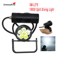 Uranusfire LED Diving Flashlight XM L2 6000lm Scuba Dive Torch 18650 200m Underwater Video 60w Canister Dive Lamp light