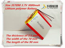 (free shipping)Polymer lithium ion battery 3.7 V, 357090 can be customized wholesale CE FCC ROHS MSDS quality certification