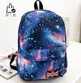 Linlanya novo multicolor mulheres mochila de lona elegante galaxy star universo espaço mochila unisex saco de volta da escola 5 cores c-123