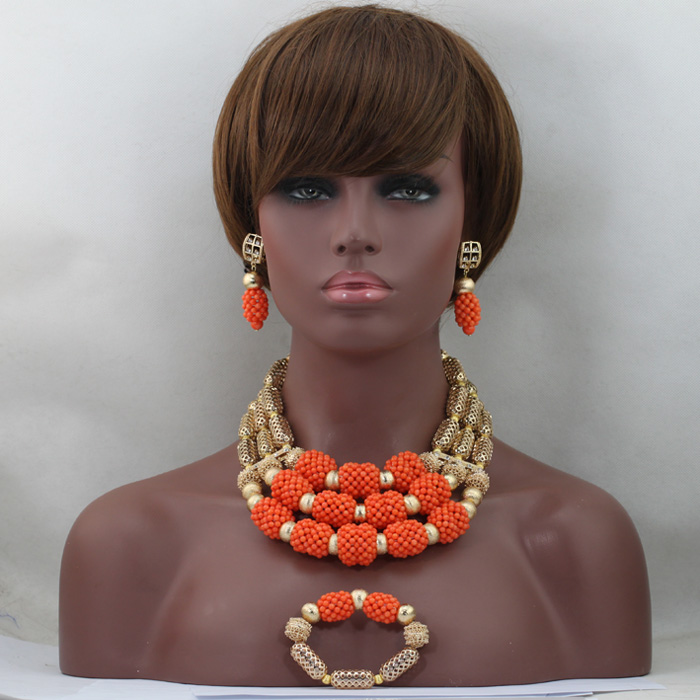 Graceful African Wedding Coral Beads Jewelry Set 18K Gold Plated Brides Gift Nigerian Jewelry Set Hot