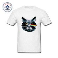 2017 הקיץ החדש מצחיק חתול טי פינק פלויד חולצת T כותנה לגברים