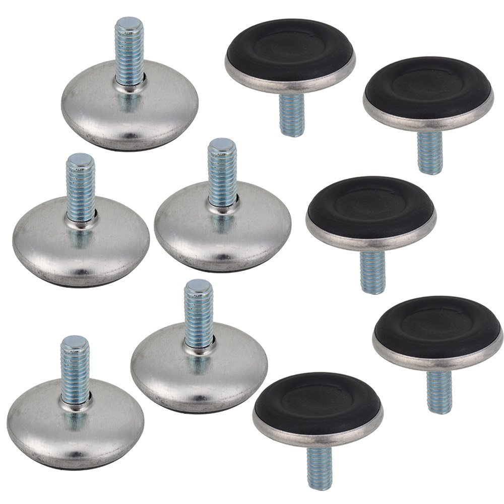 20pcs/lot Adjustable Furniture Leg Table Leveling Feet Pad Black Base M6 X 28 6mmNylon Bumpers + Thread Stem