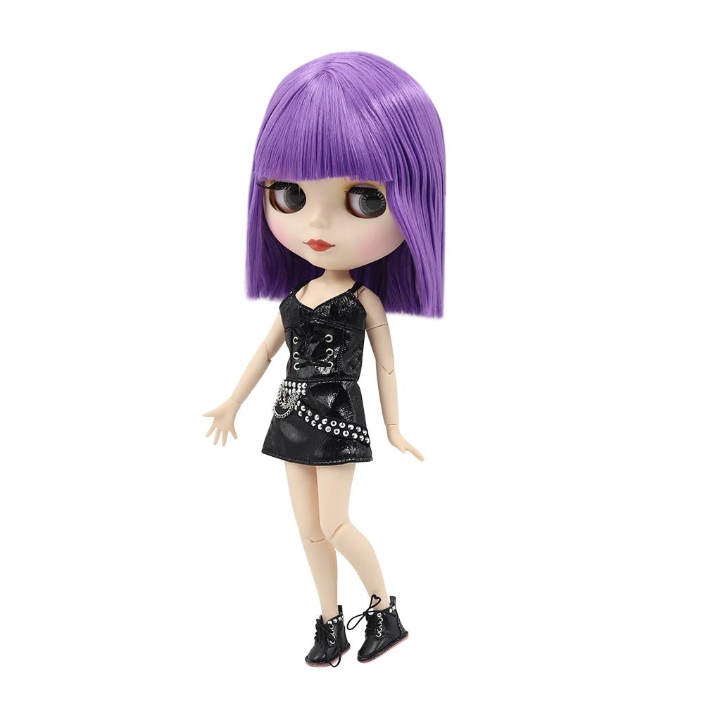 Blyth nude doll 30cm white skin Novel purple cool short hair 1 6 JOINT body matte
