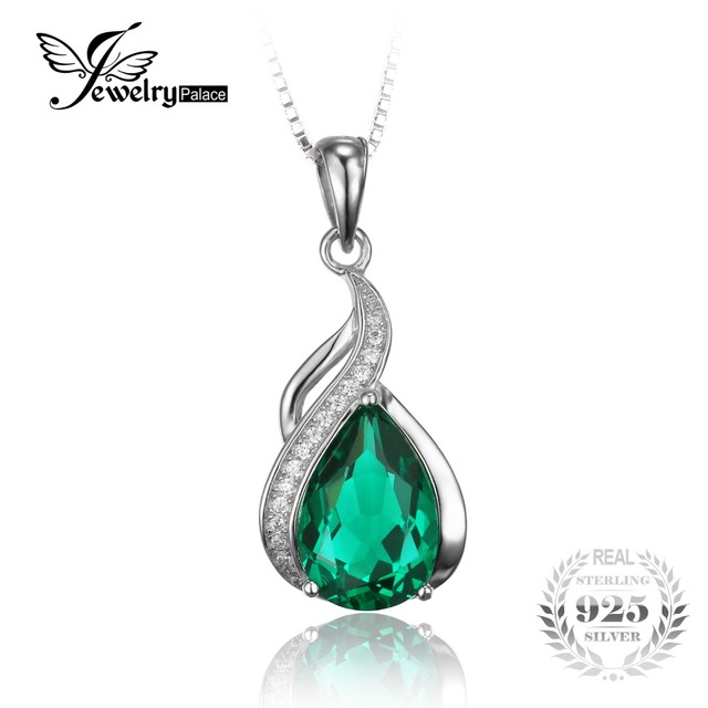 JewelryPalace 2.8ct Pear Nano Russian Emerald Pendants  925 Sterling Silver  2016 New Fine Jewelry Does Not Include a Chain
