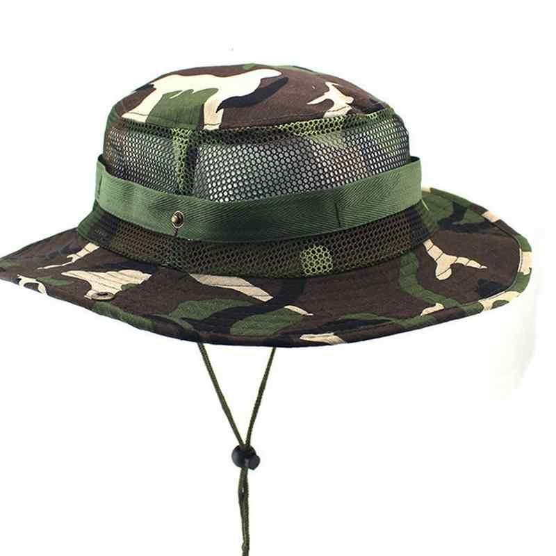 Camouflage Bucket Hat With String Summer Men Women Fisherman Cap Military  Sun Hats Cap Round Rim 311efd09adb