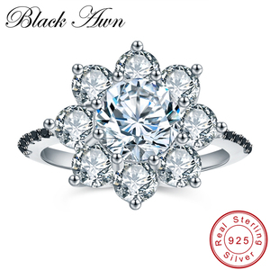 BLACK AWN Classic 4.0g 925 Sterling Silver Jewelry Big Flower Wedding Rings for Women Black Spinel Engagement Ring Bague C005