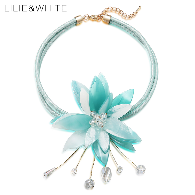LILIE&WHITE Acrylic Flower Choker Necklace With Crystal Collar Necklace Faux Leather Fashion Jewelry Christmas Gift HK faux leather bowknot uncle moon choker