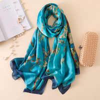 2020 Luxury Brand Van Gogh Oil Painting Silk Shawl Scarf Women Apricot Floral Silk Turban Head Hijab Femme Wraps Foulard Snood