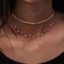 Винтажное многослойное женское Кристальное подвесное ожерелье в богемном стиле модное Золотое геометрическое Очаровательное ожерелье в виде цепи, ювелирные изделия
