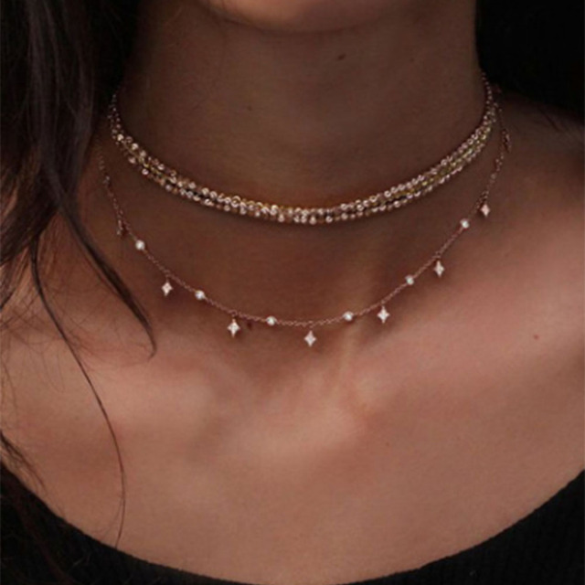 Multilayer Crystal Starlight Pendant Necklace