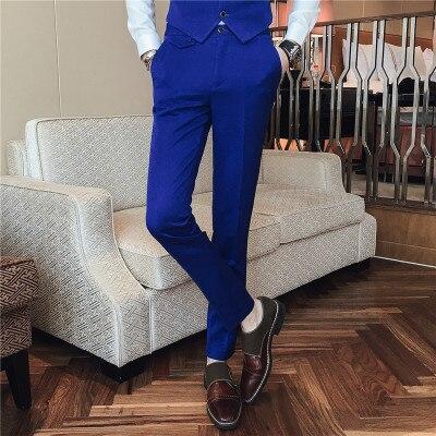 Pantalones De Vestir Para Hombre Pantalon Formal Para Fiesta De Boda Traje Ajustado Informal Color Solido Azul 2018 Pantalones De Traje Aliexpress