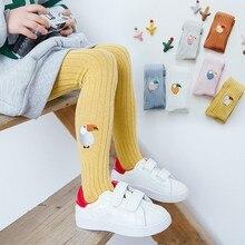 Зима-осень От 1 до 11 лет Детская одежда для девочек детские колготки конфетных цветов Детские Танцы Хлопковые чулки колготки с мультяшной вышивкой