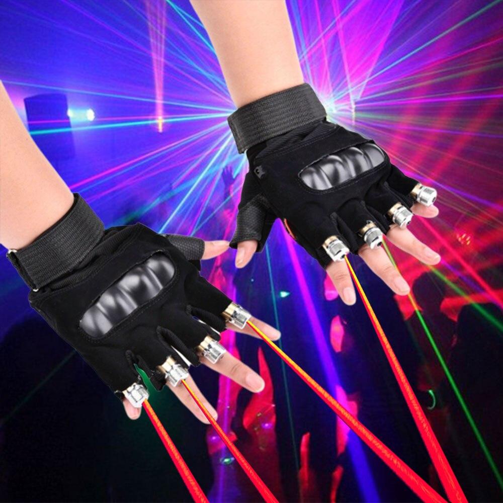 1 pièces Rouge Vert Bleu Violet Gants Laser DJ Lumière Danse Bar Ktv Spectacle Fête LED Stade Lumière Lampe Gants avec 4 pièces Lasers