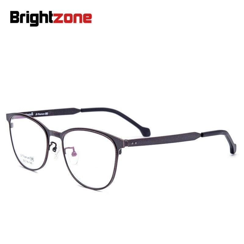 Brightzone Vintage & Retro IP Electroplate Pure Titanium Oval Style Full Rim Frame Plain Opticsal Eye Prescription Glasses Frame
