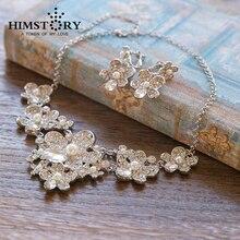 Flower Czech Rhinestone Crystal Wedding Jewelry Sets 2014 Newest Bridal Necklace ans Earring 2pc Set
