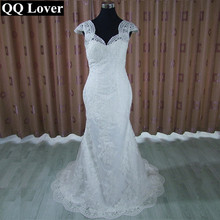QQ Lover 2017 New Cap Sleeve See Through Back Mermaid Wedding Dress Appliques Custom-made Vestido De Noiva Bridal Gowns