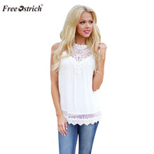 Free Ostrich Fashion women summer autumn sleeveless solid color Tops & Tees cott