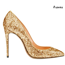 Aiyoway Fashion Women Pointed Toe High Heel Glitter Pumps Autumn Spring Wedding Party Dress Shoes Slip On Big Size US 5~17 недорого