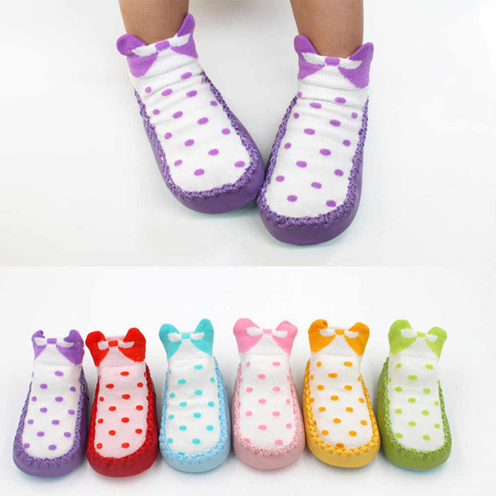 Toddler Baby Girl Boy Shoes First Walker Bow Dot Newborn Baby Girls Boys Anti-Slip Socks Slipper Shoes Boots