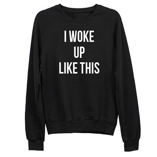 ! Design Women Fashion Casual Letter Print Long Sleeve Hoody Outerwear Sweatshirt Hoodie