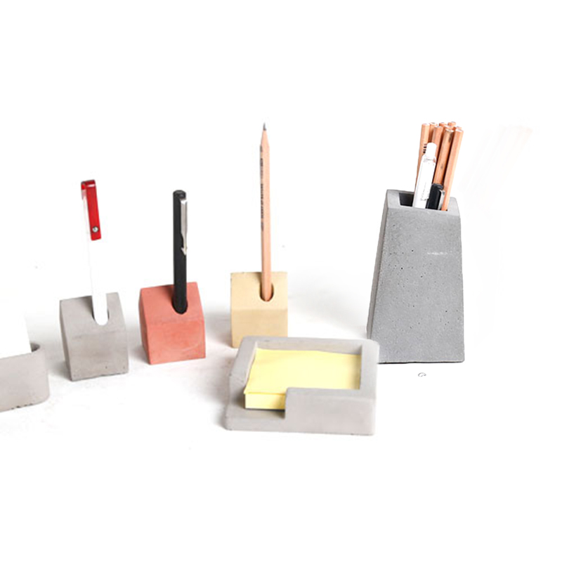 Concrete Office Supplies Silicone Mold  Cement Note Box Mold Plaster Pen Holdermold Business Card Clip Mold