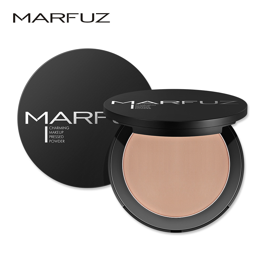MARFUA Mineral Translucent Compact Pressed Powder Face Contour Palette Finishing  Makeup setting powder with puff