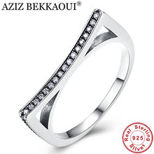 AZIZ BEKKAOUI 100% 925 Sterling Silver Cute Cat Ears Pussy Ears Stackable Finger Ring for Women Clear CZ Engagement Jewelry(China)