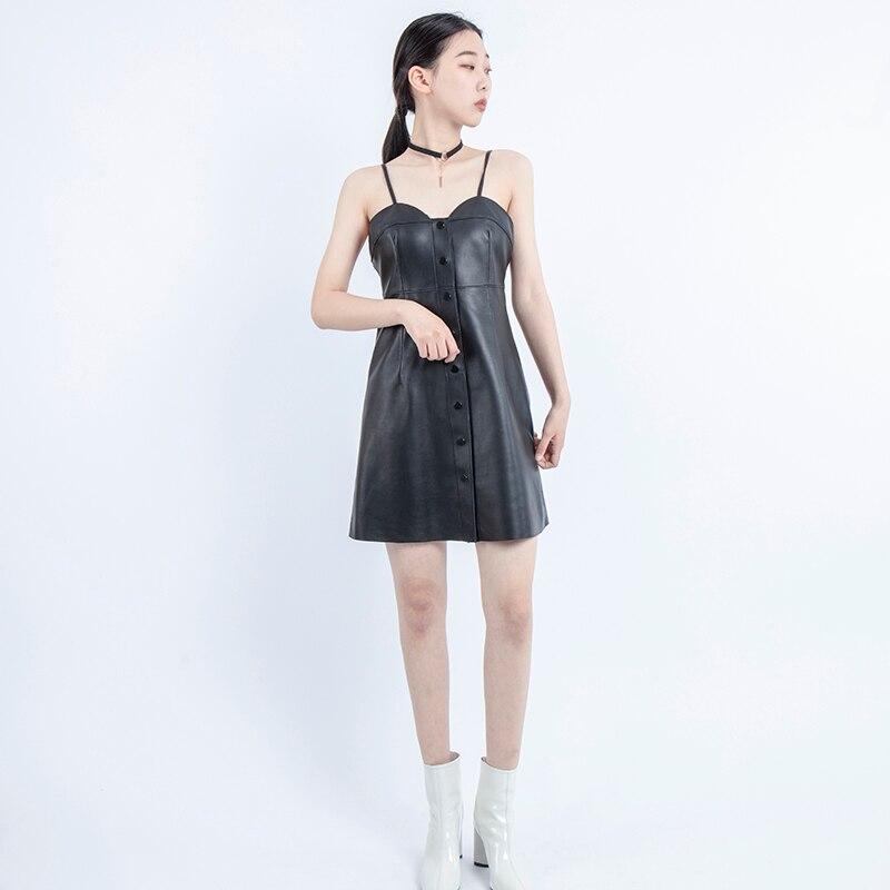Genuino di cuoio del vestito sexy Senza Maniche vestiti delle donne 2019 coreano casual vestiti delle signore della donna del partito di notte camicia di pelle di pecora nera