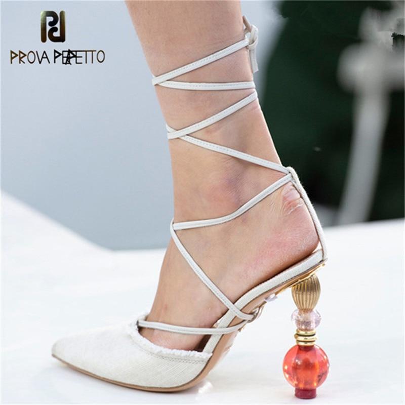 Prova Perfetto Runway Designer Metal Crystal Strange High Heels Women Sandals Gladiator Crosstied Shoes Ladies Sexy Dress Shoes