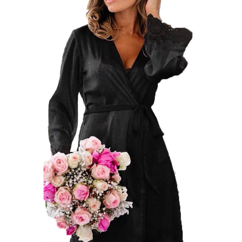 91d332db2e Sexy Women Smooth Slips Nightdress Lace Full Sleeve V Neck Hot Romantic  Sleepwear Sexy Lingerie Underwear Bandage Solid Dress