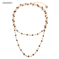 ISHOW Long Multilayers Chain Necklaces For Women Hematite Glass Beads Copper Beads Statement Charm Bohemian Necklace