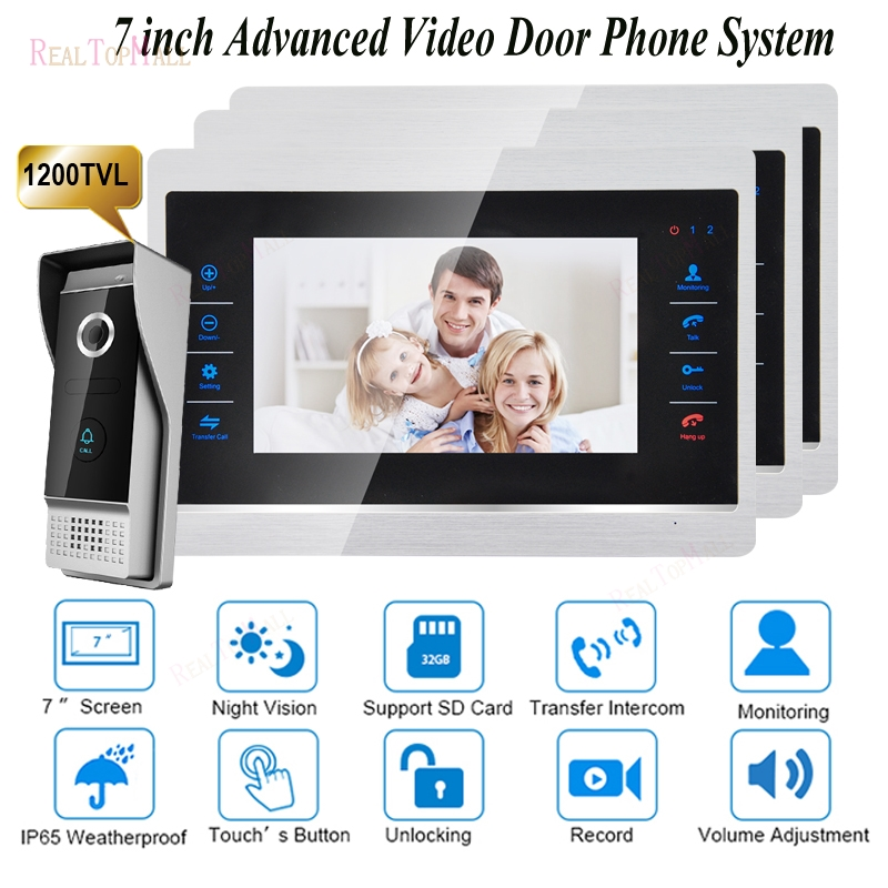 7 Inch Video Door Phone Monitor Intercom System/Kit Doorbell Camera Night Vision 1200TVL Recording SD Card Support   1 v 3 7 inch color tft video door phone doorbell intercom kit 2 camera 1 monitor night vision electric lock control mfbs