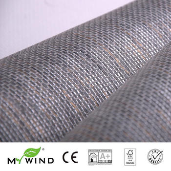 2019 MY WIND grey Grasscloth Wallpapers Luxury Natural Material Innocuity 3D Paper Weave Design Wallpaper In Roll Decor