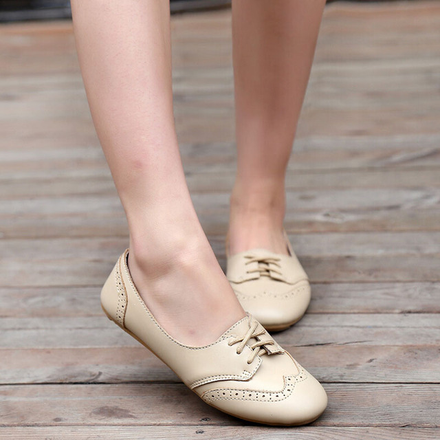 Women Genuine Leather Shoes Fashion Women Flats Casual Women Shoes Lace Up  Women Loafer Flats Shoes Zapatos Mujer 5d62T