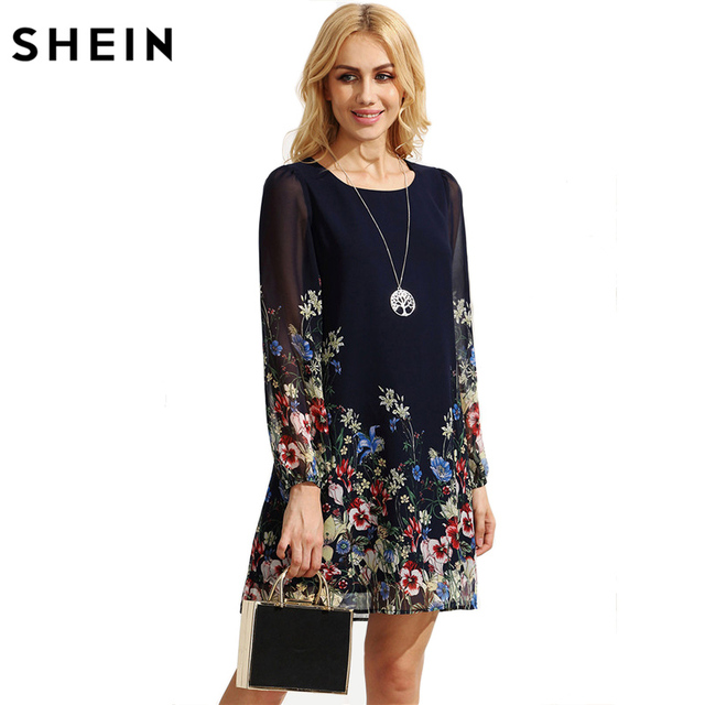 d93960d8ac7d SHEIN Casual Autumn Boho Dresses for Women Multicolor Round Neck Long Sleeve  Floral Print Straight Chiffon