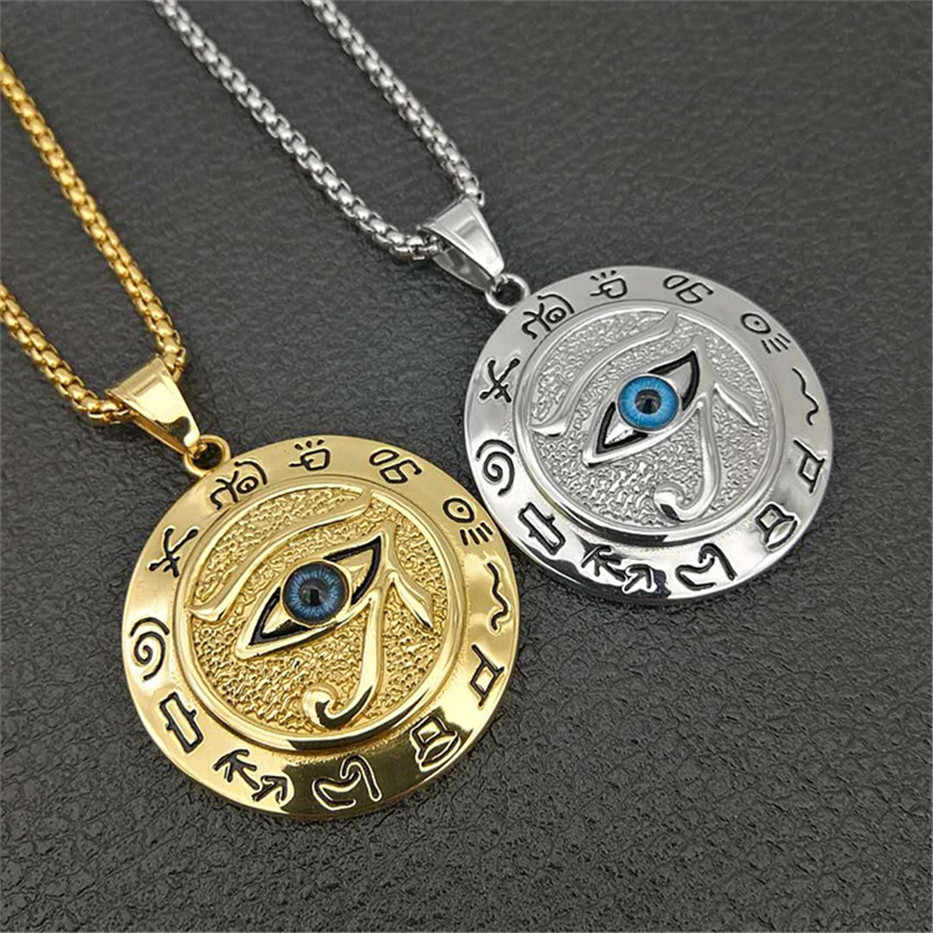 Dropshipping Ancient Egypt Round Jewelry Collares Gold Color Stainless Steel Chain Egyptian Eye of Horus Necklaces & Pendants