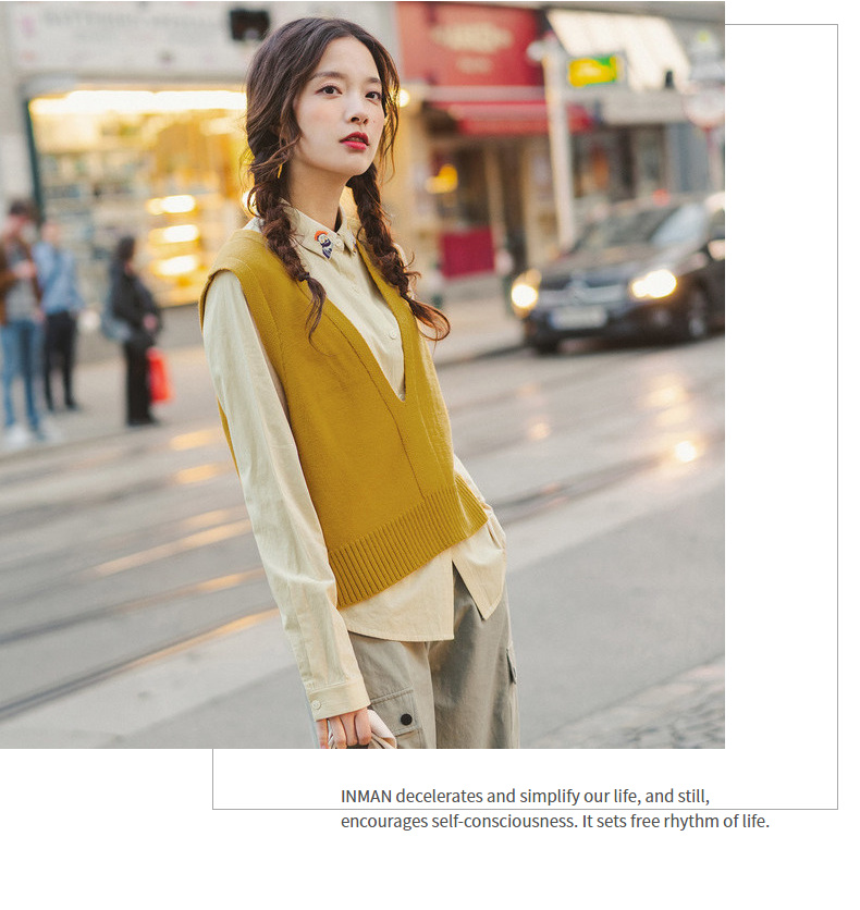 INMAN 19 Autumn New Arrival Solid Deep V-neck Sleeveless All Matched Women Sweater Short Snit Vest 14