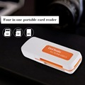 1pcs Protable USB 2.0 4 in 1 Memory Multi Card Reader for M2 for SD for SDHC DV Micro for SD TF Card Wholesale