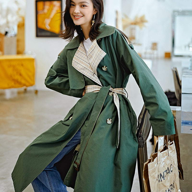 New Fashion Color Matching Windbreaker Long Section Lace Complex Lattice Army Green Women's   Trench   Coat Women's Casual coat