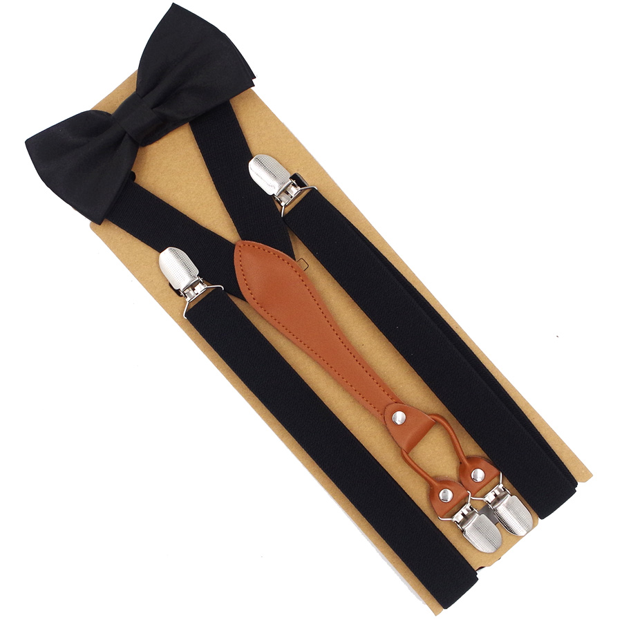 New Suspenders Set Leather 4 Clips Braces With Bow Tie Vintage Casual Suspensorio Trousers Black Strap  Tirantes
