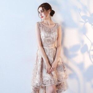 Image 5 - Robe de soiree O  Neck slim lace up Sleeveless evening dress  Short Front Long Back Party Dresses prom dresses Custom made