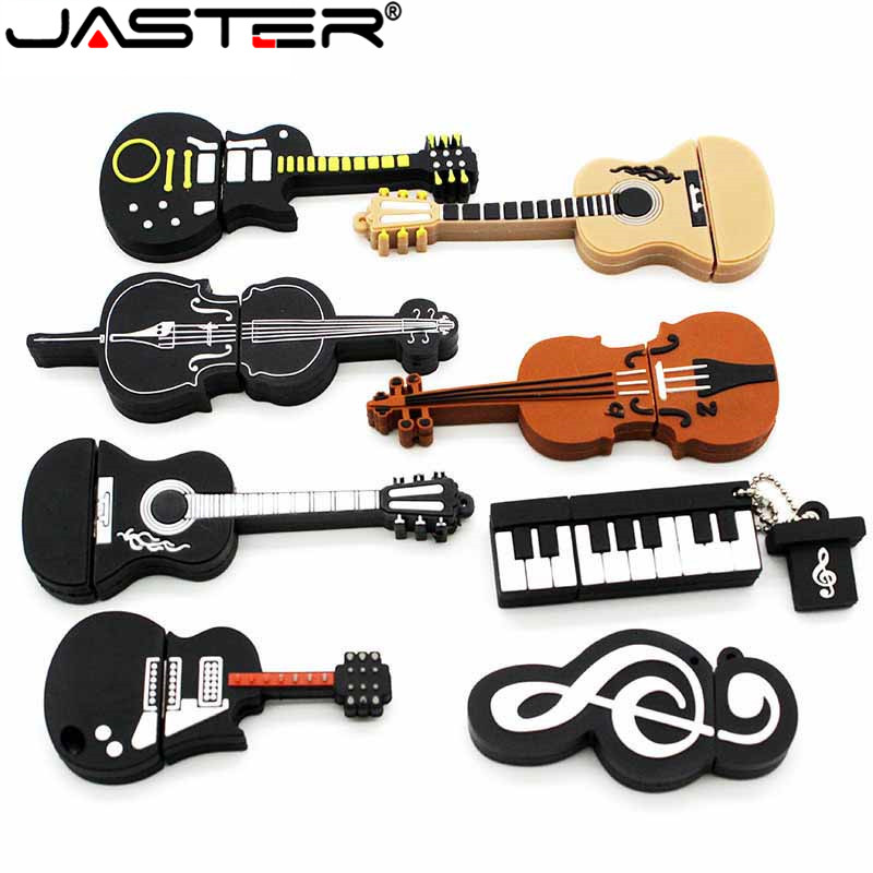 JASTER Hot Selling Cartoon Musical Instrument  USB Memory Stick Usb 4/8/16/32/64GB Piano Guitar Pendrive Gifts Free Shipping