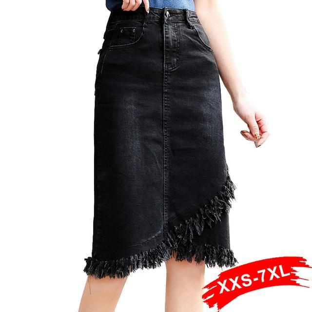 Plus Size Tassel Hem Wrap Overlap Black Bodycon Denim Skirts 3Xl 5Xl 7Xl Spring Women Office Lady Workwear Midi Jeans Skirts