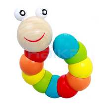 Colorful Insects Puzzles Kids Educational Wooden Toys Baby Children Fingers Flexible Training Science Twisting Worm Toys